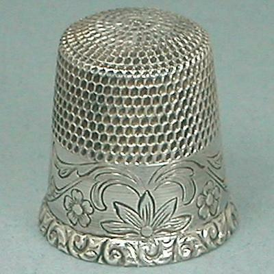 Antique Sterling Silver Floral Band Thimble by Waite, Thresher Co. * Circa 1900s