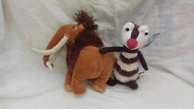 "2 x Ice Age 3 Character Manny and Crash Soft Toys 7"" Excellent G7"