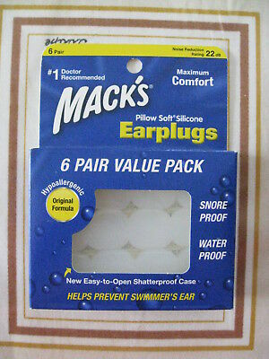 MACK Pillow Soft Silicone Earplugs, 6 Value pack, NEW!