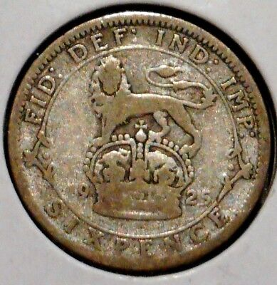 British Silver Sixpence - 1925 - King George V - $1 Unlimited Shipping