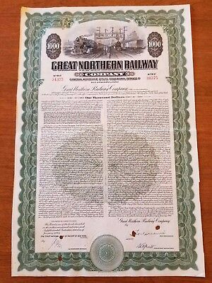 Great Northern Railway Railroad Bond Stock Certificate