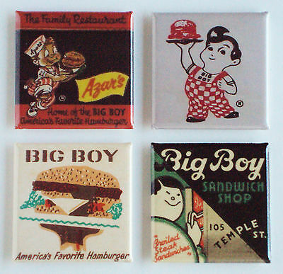 Big Boy Restaurant FRIDGE MAGNET Set (1.5 x 1.5 inches each) hamburger sign