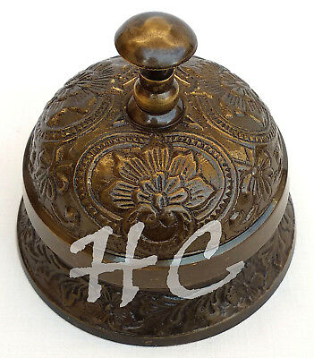Old Brass Antique Victorian Style Service Desk Office Bell Hotel Counter Bell