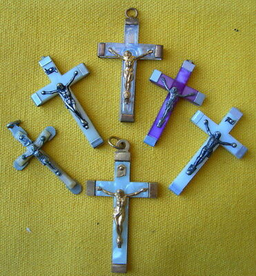 circa 1950/1960 LOT 6 CELLULOSE ACETATE CROSS PENDANT for rosary croix chapelet