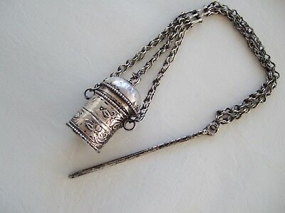VTG Bedouin Middle Eastern silver kohl Pot and applicator on chain