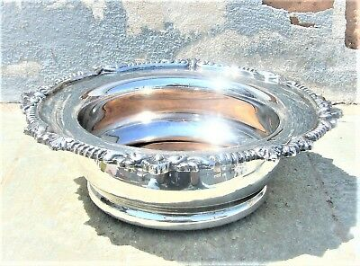 Antique Ornate Sheffield Silver Plated On Copper Champagne Bottle Wine Coaster