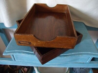 Two Vintage Wooden Desk Trays Filing Great Retail Storage