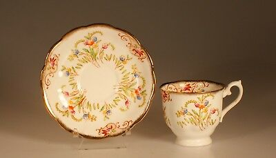 Royal Albert Crown China Hand Painted Floral Cup and Saucer, England c. 1930