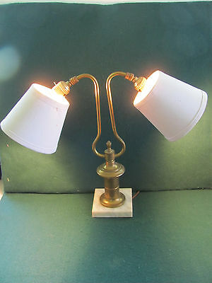 Vintage double headed brass table student desk lamp w square marble like base