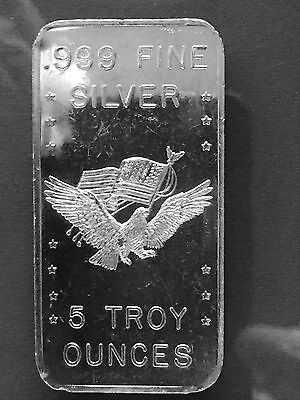5 Troy Ounces oz .999 Fine Silver Bar BLANK BACK