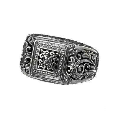 Gerochristo 2498N ~ Sterling Silver Medieval-Byzantine Filigree Band Ring