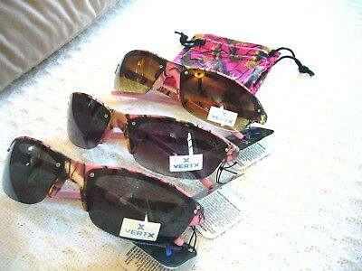 Pink Camo Sunglasses 4 Kids Or Adults W/ Small Faces W/ Free Matching Case~Uv400