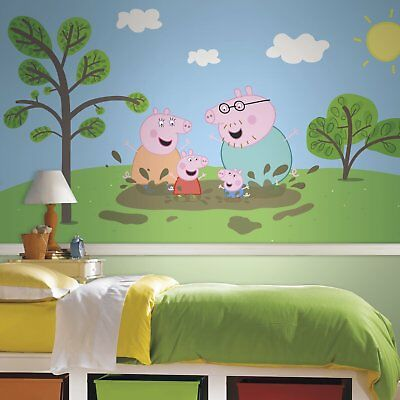 RoomMates Peppa The Pig XL Chair Rail Prepasted Mural 6 by 10.5-Feet