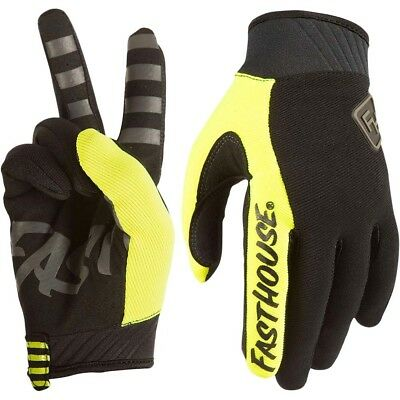 Fasthouse NEW Mx 2018 Grindhouse 2.0 FLO Yellow Adult Motocross Dirt Bike Gloves