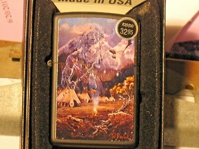 New ZIPPO Windproof Flame Lighter USA 71995 Spirit of the West Black Marrt Case