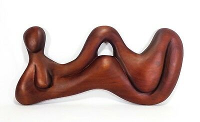 Modernist Signed Lg Carved Teak Amorphic, Abstract Female Wooden Wall Sculpture