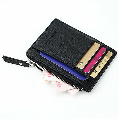 New Men's PU Leather Credit Card ID Holder Slim Wallet  Coin Zipper Purse