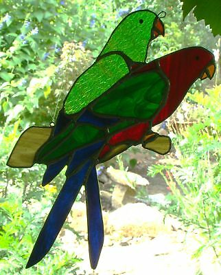 Beautiful KING PARROTS PAIR Hand Made Suncatcher STAINED GLASS BIRTHDAY GIFTS