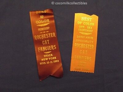 1962 Lot of 2 Award Ribbons Best of Color Rochester Cat Fanciers Utica NY