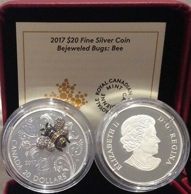 2017 Bee Bejeweled Bugs $20 1OZ Pure Silver Proof Coin Canada: gemstones