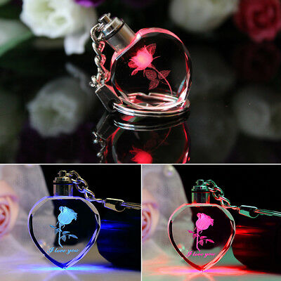 Fairy Crystal Rose LED Light Love Heart Key Chain Keyring Pendant Charm Gifts