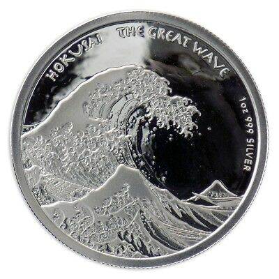 2017 $1 Fiji 1 oz .999 Silver - Hokusai - The Great Wave - Proof Like in Capsule