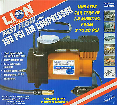 Auto Air Compressor 12 Volt 150 PSI Fast Flow Series With Carry Bag Car 4WD SUV