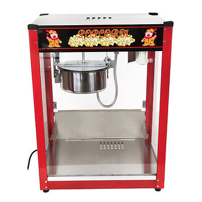 1370W Commercial Popcorn Machine Stainless Steel Red Pop Corn Warmer Cooker Popp