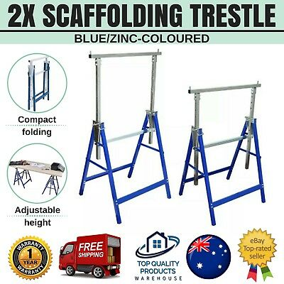 2pcs 200kg Adjustable Height Scaffolding Trestle Building Carpentry Handyman New