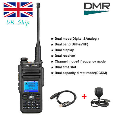Digital Mobile Radio Retevis RT82 Dual Band UHF+VHF DMR Transceiver+Mic+Cable UK