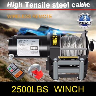 DCFlat 12V 2500LB Electric Trailer Recovery Winch Steel Cable ATV/Boat/Truck/Car