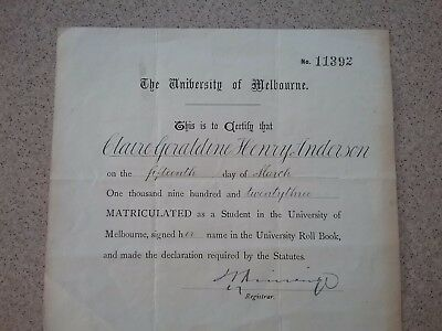 Vintage University of Melbourne Graduation Cert 1923 Original