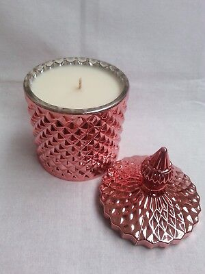 Large Lemongrass Scented Candle (100% Soy Wax) in a Rose Gold Jar with lid