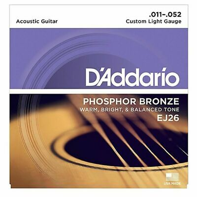 D'addario EJ26  Phosphor Bronze Custom  Acoustic Guitar Strings 11 - 52 1 SET