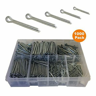 1000 x Assorted Metric Cotter Split Pins, Steel Retaining Pins Zinc Plated