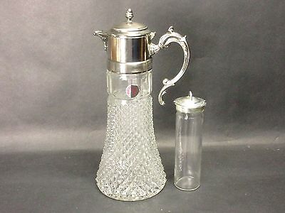"""Vtg Glass Eales Italy Silverplate Water Ice Tea 14"""" Pitcher Decanter Ice Insert"""