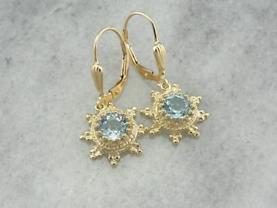 Vintage Blue Topaz Drop Earrings, Ancient Style Gold Mountings with Etruscan The