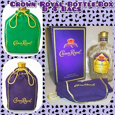 👑 Crown Royal Lot with Bottle, Box & 5 Bags ☆ 4 Purple 1Green •Empty• Free Ship