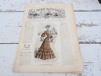 Antique  French Issue Victorian magazine LA MODE ILLUSTREE  fashion 22 mai 1904