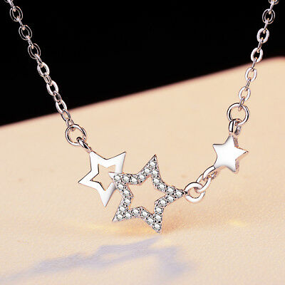 Inaly Crystals Star Chain 925 Sterling Silver Necklace For Women Fashion Jewelry