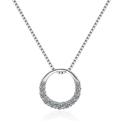 Classic Crystals Round Pendant 925 Sterling Silver Necklace For Women Girl Gift