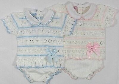 Baby Babies Spanish Portuguese Boys Girls Knitted Top Jam Pants 2 Piece Set 601