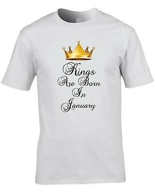 Kings Are Born In January Mens T-Shirt Birthday Gift Cool Funny Royalty Prince