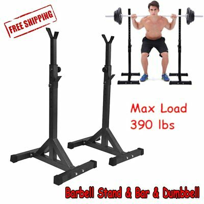 Workout Squat Rack Stand Power Stands Barbell Bar Dumbbell Set Adjustable Weight