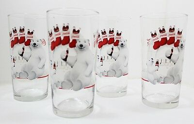 Coca Cola Polar Bear Father And Son Christmas Glasses Lot Of 4
