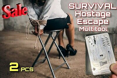 2 PCE EDC Escape Hostage Survival Card Multi Tool Credit Card Size FREE DELIVERY