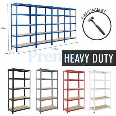 Metal Shelving Racking 5 Tier Heavy Duty Industrial Garage Steel Shelf
