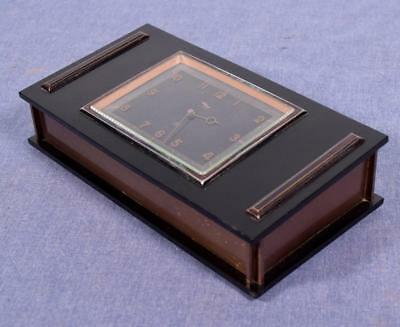 Vintage Imhof Swiss Jewelry Box Clock with Bakelite (?) and Copper Case