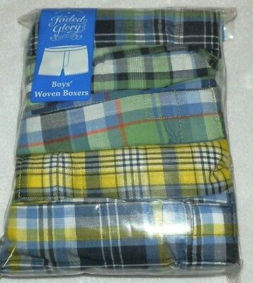 New Boys Large 10-12 Woven Boxers 5 Pack Faded Glory Plaid Blue Green Yellow