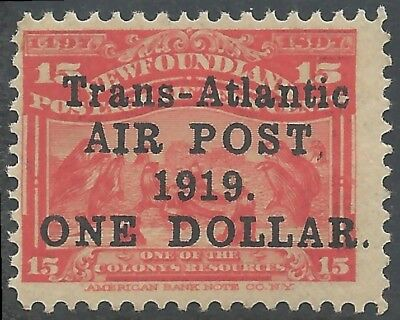 Newfoundland #C2 F-VF MINT NH C$500.00 -- ALCOCK AND BROWN FLIGHT -- Airmail